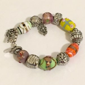 Lilly Pulitzer Sterling Murano Glass Bead Bracelet